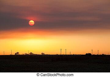 Smokey Sunset in California