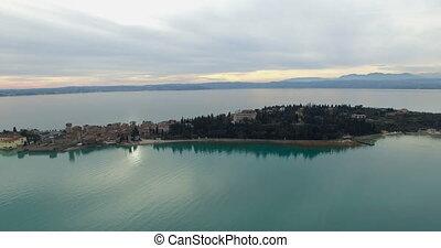 Aerial: Lake Garda Palazzo, Italy