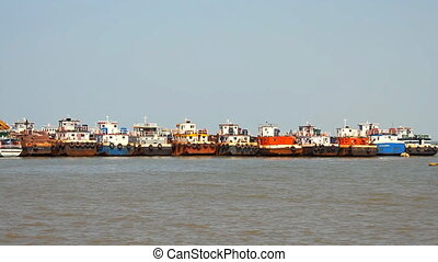 commercial fishing boats based at port - Maharashtra, India...