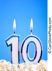 Birthday candles - Candles for a tenth birthday or...