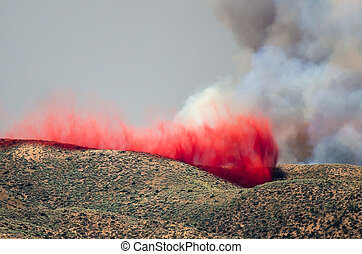 Red Fire Retardant Settling into Depression After Being...