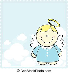 cute little angel - cute little baby angel on clouds...
