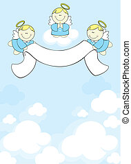 three cherubs in heaven - three little angels with ribbon...