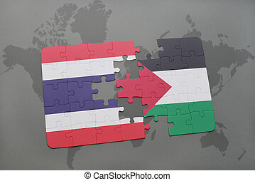 puzzle with the national flag of thailand and palestine on a...