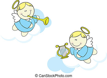 cartoon cherubs in clouds - isolated cute little cherubs...