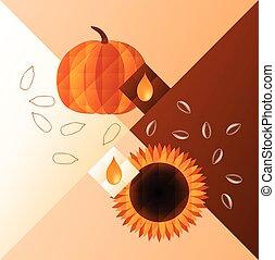 pumpkin and sunflower