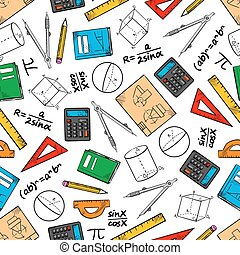 Education seamless pattern of school supplies - Mathematics...