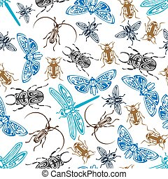 Seamless pattern of bugs and insects - Seamless pattern of...