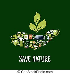Green plant in hand icon - Save nature concept icon with...