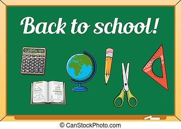 Blackboard and school supplies set