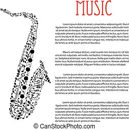 Saxophone made up of musical notes - Jazz music festival or...