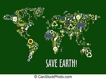 World map icon composed of ecology symbols - Save earth...