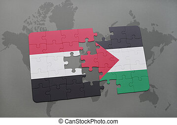 puzzle with the national flag of yemen and palestine on a...