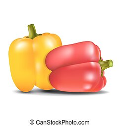 Yellow and red sweet pepper. - Yellow and red sweet pepper...