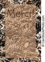 Vertical Autumn Card, Merci Means Thank You - Vertical...