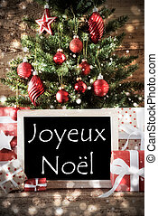 Tree With Bokeh Effect, Joyeux Noel Means Merry Christmas -...
