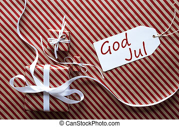 Two Gifts With Label, God Jul Means Merry Christmas - Two...