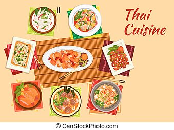 Asian cuisine dinner with thai dishes flat icon - Thai...