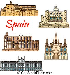 Travel landmark icons of Spain - Colorful thin line travel...