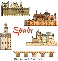 Historical travel landmarks of Spain linear symbol - Spanish...