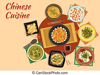 Oriental cuisine dinner with chinese food icon - Chinese...