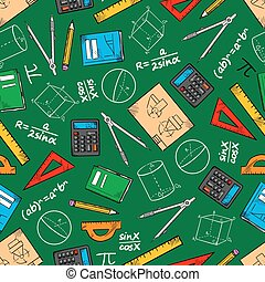 Mathematical education seamless pattern background -...