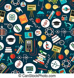 Physics sciense education flat seamless pattern - Physics...