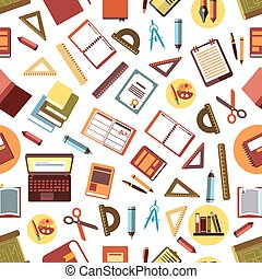 Seamless pattern of school and office supplies