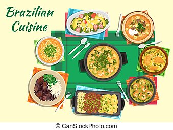 Brazilian cuisine dishes with thick soups, stews -...
