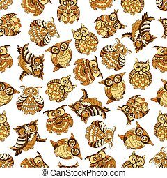 Owl and owlet birds seamless pattern - Owl and owlet...