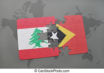 puzzle with the national flag of lebanon and east timor on a world map background.