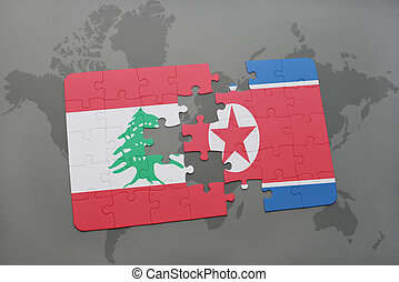puzzle with the national flag of lebanon and north korea on...