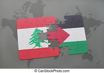 puzzle with the national flag of lebanon and palestine on a...