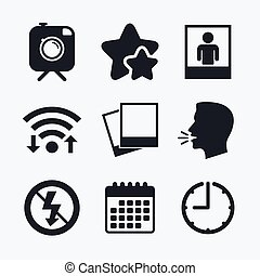 Photo camera icon. No flash light sign. - Hipster retro...
