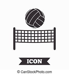 Volleyball net ball icon. Beach sport symbol. - Volleyball...