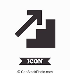 Upstairs icon Up arrow sign Graphic design element Flat...