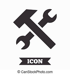 Repair tool sign icon. Service symbol. Hammer with wrench....