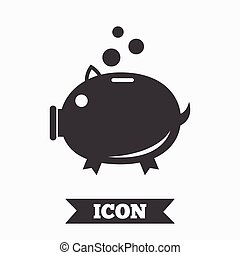 Piggy bank sign icon Moneybox symbol Graphic design element...