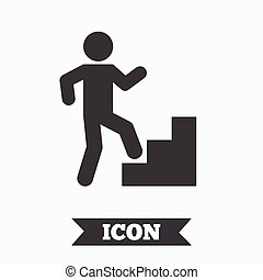 Upstairs icon. Human walking on ladder sign. Graphic design...