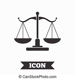 Scales of Justice sign icon. Court of law symbol. Graphic...