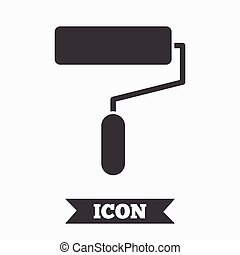 Paint roller sign icon Painting tool symbol Graphic design...