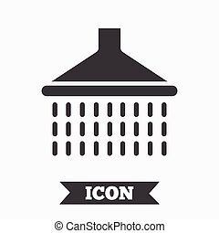 Shower sign icon. Douche with water drops symbol. Graphic...