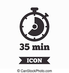 Timer sign icon 35 minutes stopwatch symbol Graphic design...
