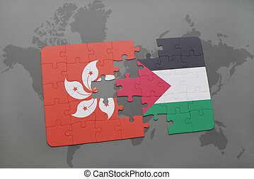 puzzle with the national flag of hong kong and palestine on...