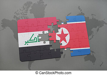 puzzle with the national flag of iraq and north korea on a...