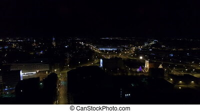 Aerial: Wroclaw at night, Poland