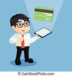 businessman showing a credit card