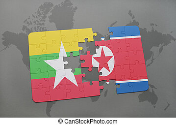 puzzle with the national flag of myanmar and north korea on...