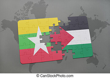 puzzle with the national flag of myanmar and palestine on a...