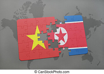 puzzle with the national flag of vietnam and north korea on...